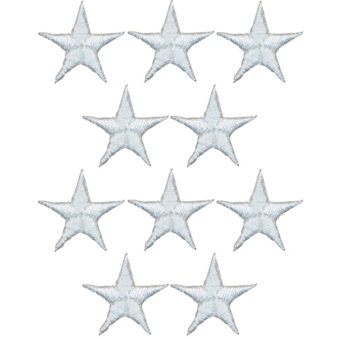 "Star Applique Patch - White 5/8"" (10-Pack, Iron on)"
