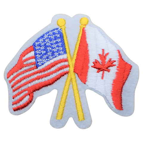 "USA and Canada Patch - North America, Flags Unified 3-7/8"" (Iron on)"