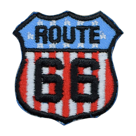 "Mini U.S.A. Route 66 Patch - United States Rt. 66 Badge 1-3/8"" (Iron on)"