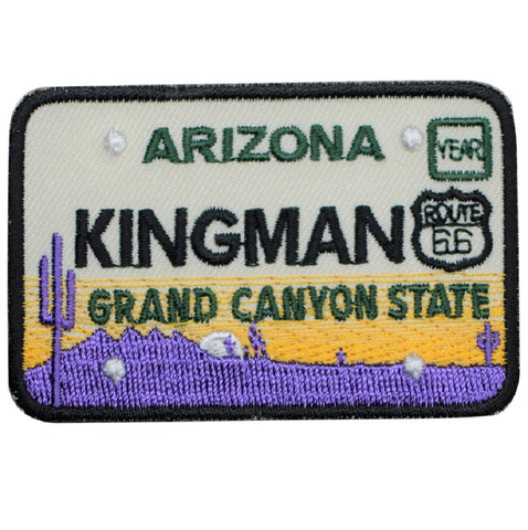"Kingman Arizona Patch - Route 66, License Plate, Grand Canyon 2.75"" (Iron on)"