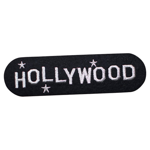 "Hollywood Patch - Metallic Silver, California, Los Angeles 5.75"" (Iron on)"
