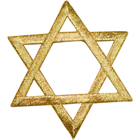 "Star of David Applique Patch - Metallic Gold, Hanukkah 2"" (Iron on)"