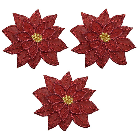 "Poinsettia Christmas Flower Applique Patch 1.75"" (3-Pack, Iron on)"