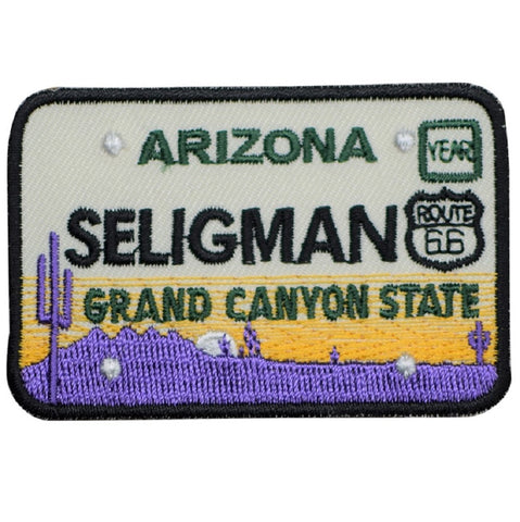 Seligman Arizona Patch - Route 66, License Plate, Grand Canyon State (Iron on)