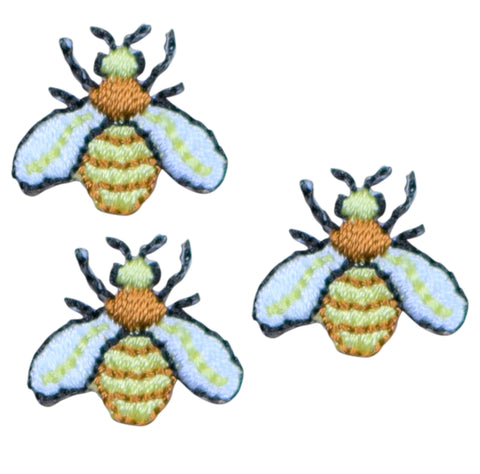 "Mini Hornet Yellow Jacket Applique Patch - Bumble Bee 3/4"" (3-Pack, Iron on)"