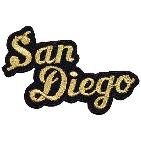 "San Diego Patch - California, CA Black/Metallic Gold Script Badge 4"" (Iron on)"