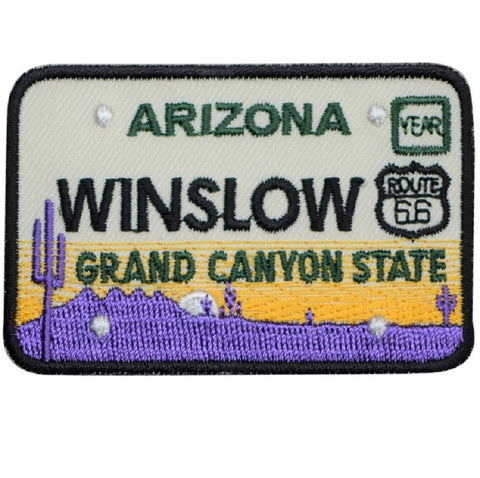 Winslow Arizona Patch - Route 66, License Plate, Grand Canyon State (Iron on)