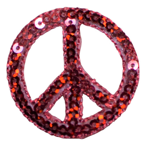 "Peace Sign Applique Patch - Sequin, Red Hippie Badge 1.5"" (Iron on)"