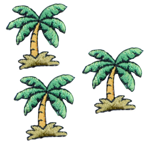 "Mini Palm Tree Applique Patch - Tropical, Beach Badge 7/8"" (3-Pack, Iron on)"