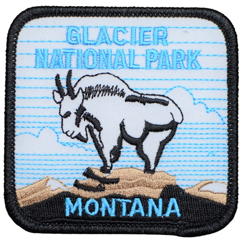 "Glacier National Park Patch - Montana, Mountain Goat, MT Badge 3"" (Iron on)"