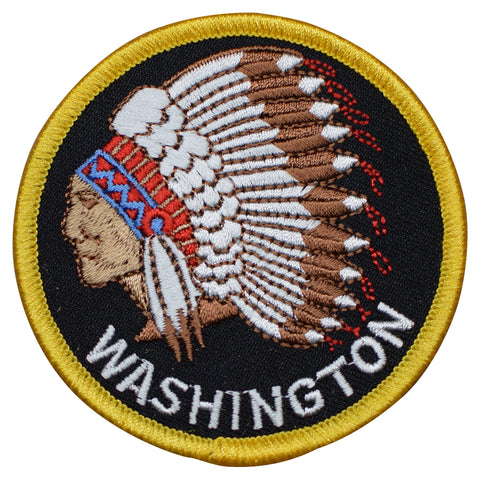 "Washington Patch - Native American Headdress WA Indian Badge 3"" (Iron on)"