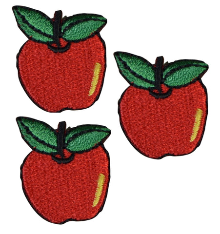 Apple with Leaves Patch Applique (3-Pack, Small, Iron on)