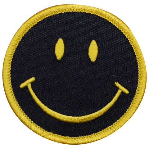 "Smiley Face Patch - Black / Yellow Smile, Happy Badge 2.5"" (Iron on)"