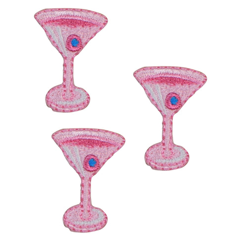 Pink Martini Cocktail with Olive Applique Patch (3-Pack, Small, Iron on)