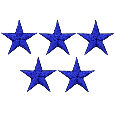 "Star Applique Patch - Royal Blue 7/8"" (5-Pack, Small, Iron on)"