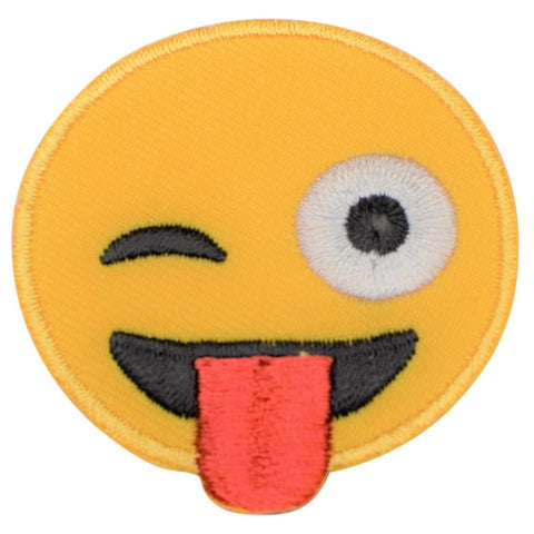 "Emoji Applique Patch - Tongue Out, Eye Wink 2"" (Iron on)"