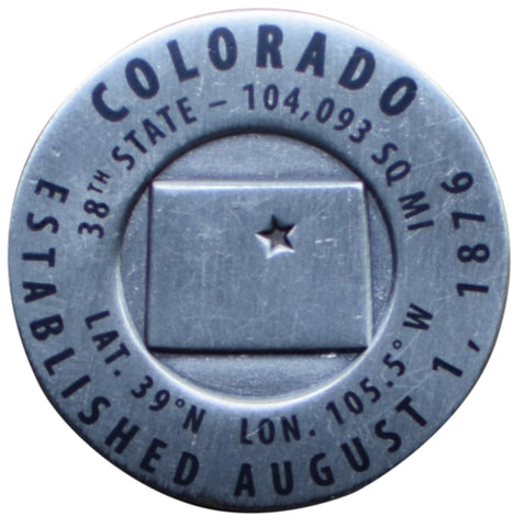 Colorado Geo-Marker Pin - Est. 1876, 38th State, Hiking Benchmark Medallion, Survey Marker (Clearance)