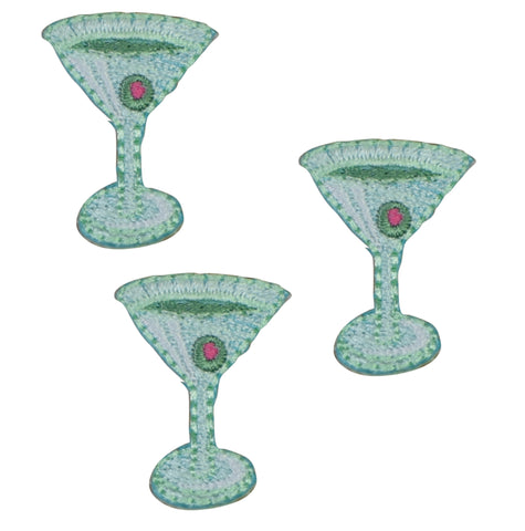 "Martini Applique Patch - Cocktail, Olive, Alcoholic Beverage 1"" (3-Pack, Iron on)"