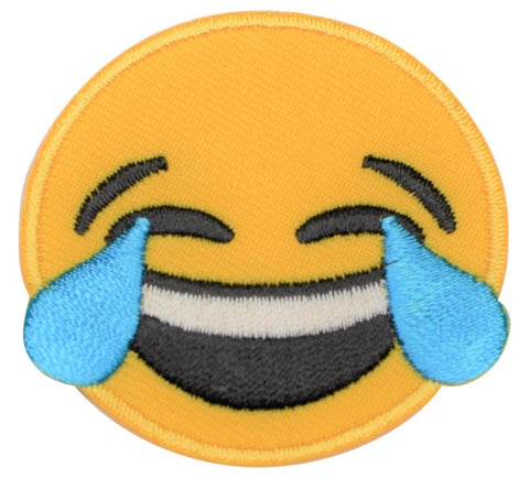 "Laughing Applique Patch - Tears of Laughter, Funny 2"" (Iron on)"