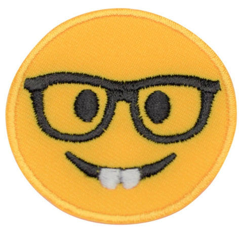 "Nerd Applique Patch - Glasses, Nerd, Geek 2"" (Iron on)"