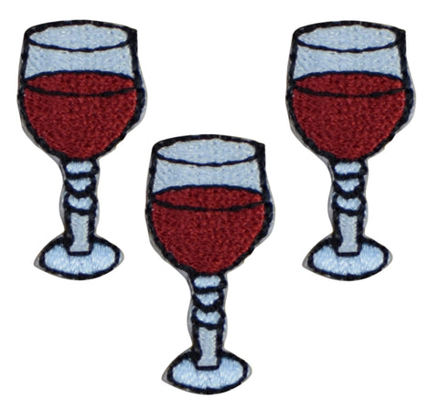 Glass of Red Wine Applique Patch (3-Pack, Small, Iron on)