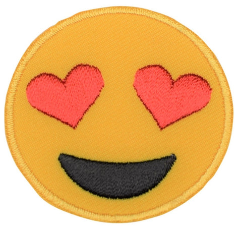 "Emoji Applique Patch - Heart Eyes, Smiling 2"" (Iron on)"