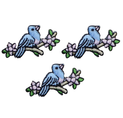 Bird on a Branch of Flowers Applique Patch (3-Pack, Small, Iron on)