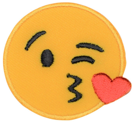 "Emoji Applique Patch - Winking, Kissing, Heart 2"" (Iron on)"