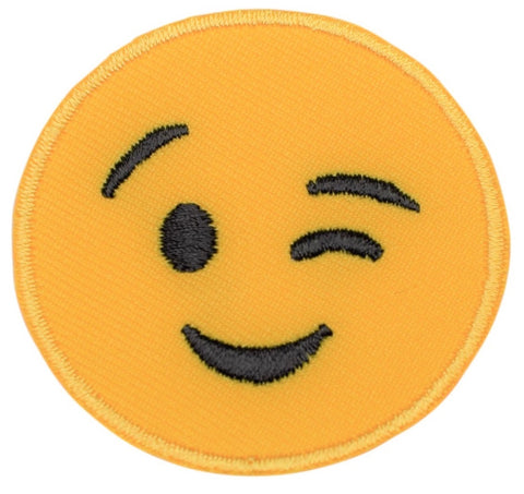 "Emoji Applique Patch - Winking, Smiling 2"" (Iron on)"