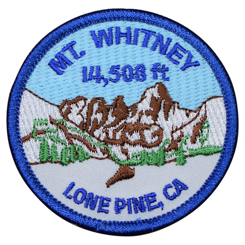 "Mount Whitney Patch - Lone Pine, California, CA Hiking Badge 2.5"" (Iron on)"