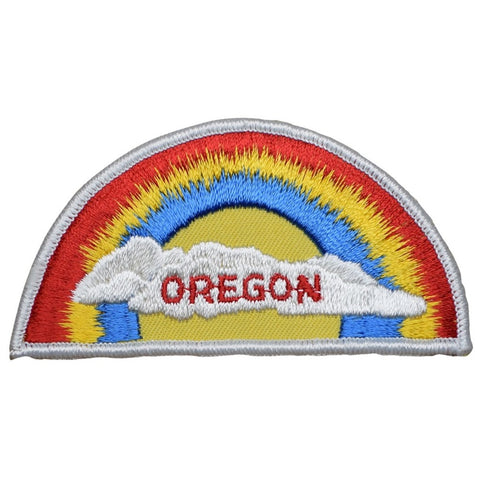 "Vintage Oregon Patch - Rainbow, Clouds, Portland, Salem, Eugene 4-1/8"" (Sew on)"