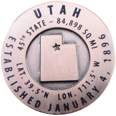 Utah Geo-Marker Pin - Est. 1896, 45th State, Hiking Benchmark Medallion, Survey Marker