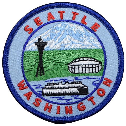 "Seattle Patch - Washington Ferry, Mt Rainier, The Needle, Football Stadium 3"" (Iron on)"