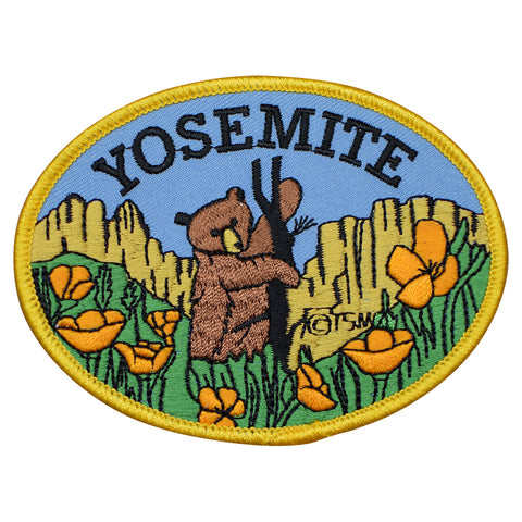"Yosemite Patch - National Park, California, Bear Cub, Poppies 4"" (Iron on)"