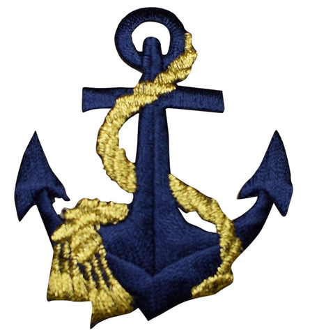 "Anchor Applique Patch - Metallic Gold Rope, Nautical Badge 2.5"" (Iron on)"