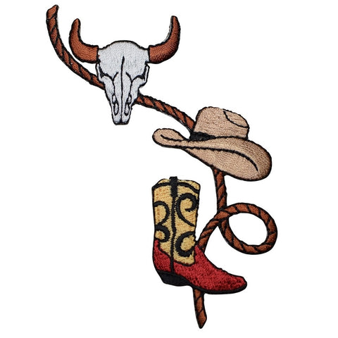 Cowboy Western Rope, Boot, Hat, and Bull Head Skull Applique Patch  (Iron On)