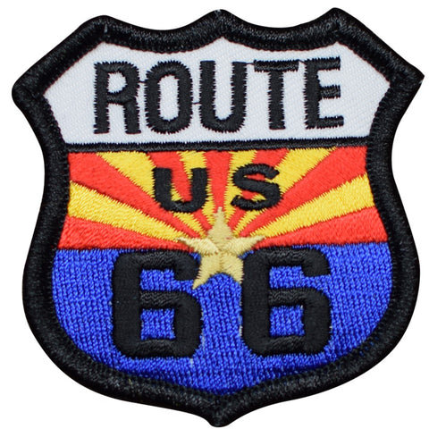 "Route 66 Patch - Arizona Copper Star, AZ Badge 2.5"" (Iron on)"