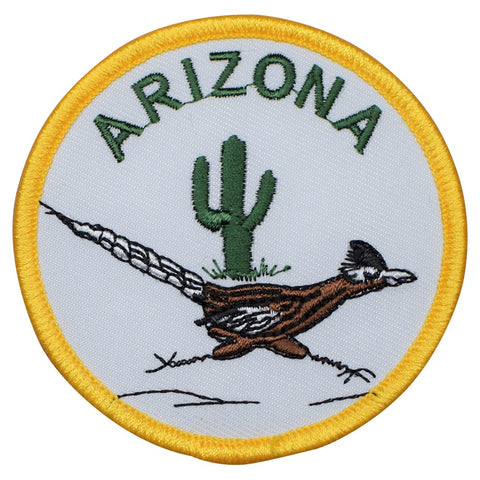 "Arizona Patch - AZ, Roadrunner, Cactus, Running Badge 3"" (Iron on)"