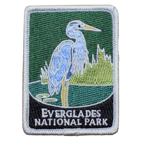 "Everglades National Park Patch - Egret, Wetlands, Florida Badge 3"" (Iron on)"