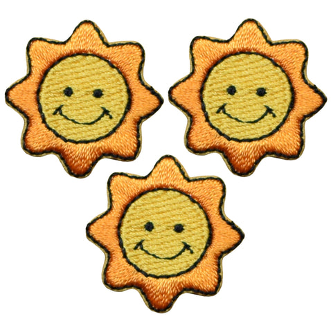 "Mini Smiling Sun Applique Patch - Star, Solar, Space 7/8"" (3-Pack, Iron on)"