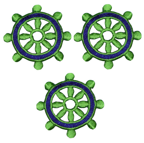 "Ship's Wheel Applique Patch - Blue/Green Sailing Badge 1.75"" (3-Pack, Iron on)"