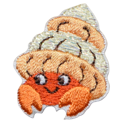 "Hermit Crab Applique Patch - Ocean, Tropical Badge 1-1/4"" (Iron on)"