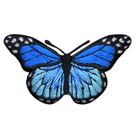 "Blue Butterfly Applique Patch - Insect, Bug Badge 2-7/8"" (Iron on)"
