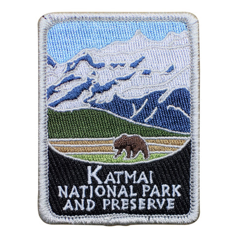 "Katmai National Park Patch - Preserve, Alaska, Kenai Peninsula 3"" (Iron on)"