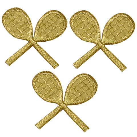 Gold Tennis Rackets Applique Patch - Metallic Gold (3-Pack, Iron on)