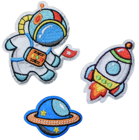 Astronaut in Space, Rocketship, Saturn Applique Patch Set (3 Pieces, Iron on)