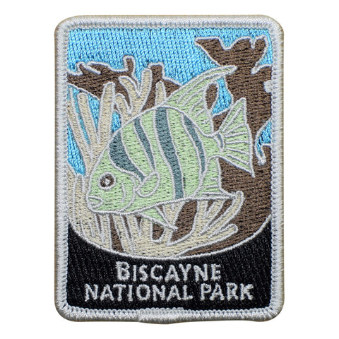 "Biscayne National Park Patch - Fish, Coral Reef, Florida, Official Traveler Series 3"" (Iron on)"