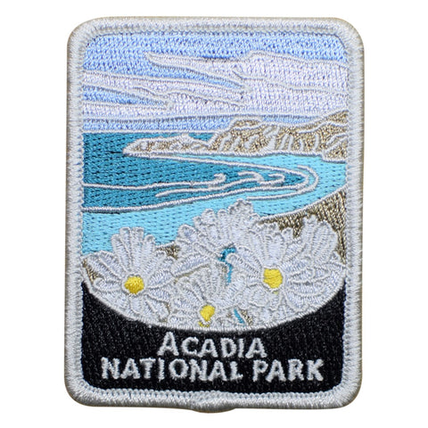 "Acadia National Park Patch - Daisies, Maine, Official Traveler Series 3"" (Iron on)"