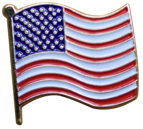 American Flag Pin - Wavy USA Flag, Made of Metal, Rubber Backing