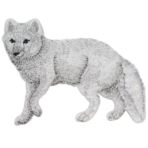 "Arctic Fox Applique Patch - White Dog 2.75"" (Iron on)"